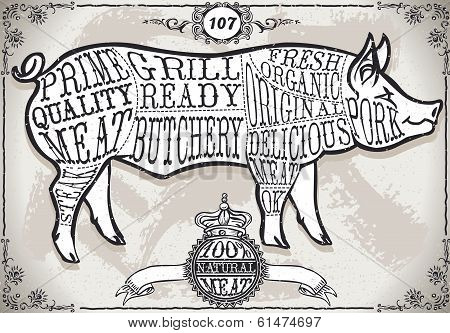 Vintage Page with Cut of Pork