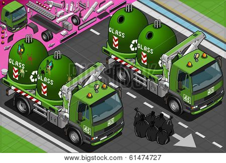 Isometric Glass Garbage Truck with Container in Front View