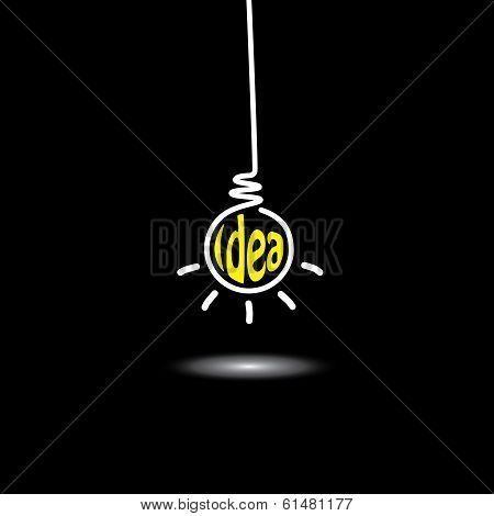 Idea Light Bulb Hanging In Black Background - Concept Vector Icon