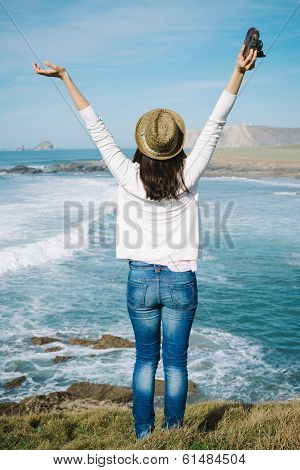 Hipster Woman Enjoy Freedom On Vacation Travel