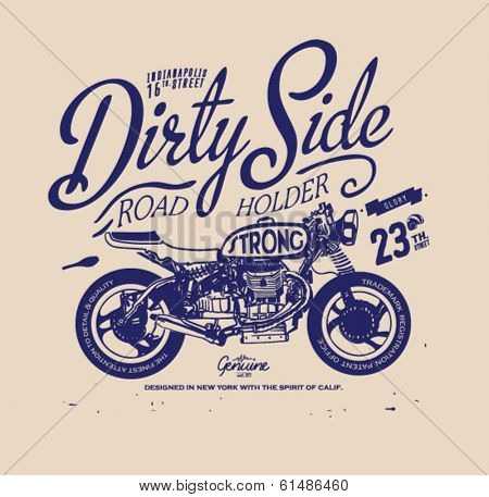 Vintage retro illustration typography t-shirt printing motor wing with wording for apparel 6