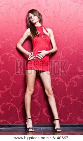 Sexy Slim Woman In Red Short Dress