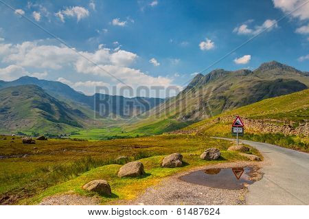 Very Steep Road In Great Langdale Valley In England - Hdr Image