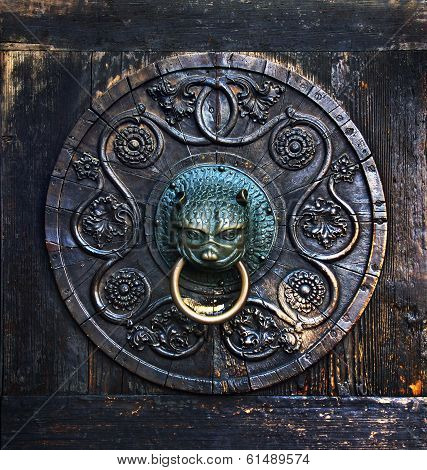 Antique Knob On A Wooden Door, Augsburg, Germany