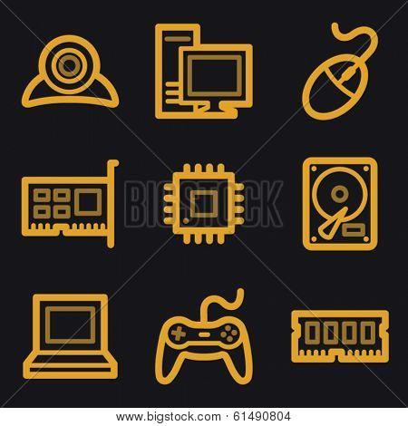 Computer web icons, gold line set