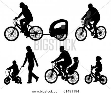 parents riding bicycles with their kids silhouettes