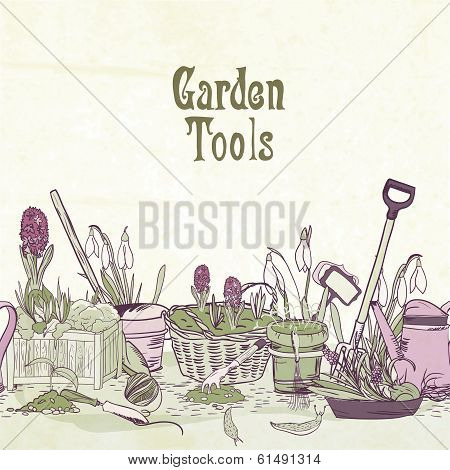 Hand drawn gardening tools frame