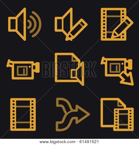 Audio video edit web icons, gold line set
