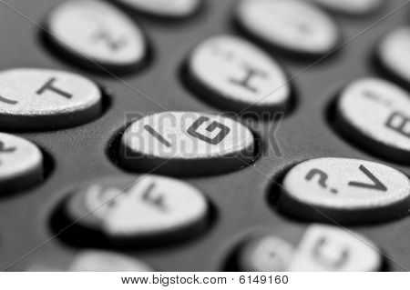 Closeup of cell phone keyboard