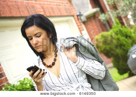Woman Getting Home Form Work