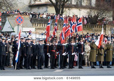 Norwegian Honour Guard At Military Parade