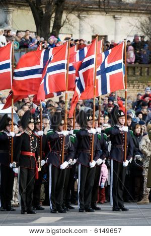 Norwegian Honour Guard At Military Parade