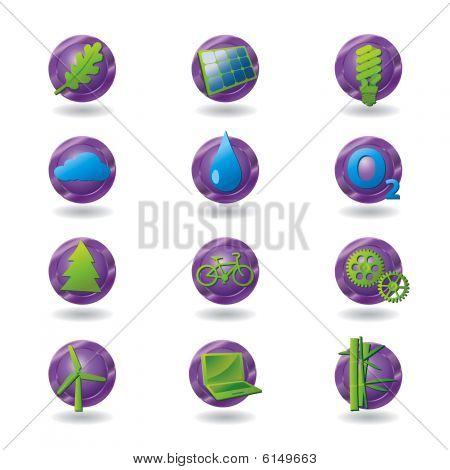 Set of stylized eco-friendly icons