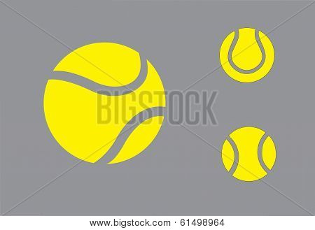 Yellow Colorful Tennis Balls Symbol Icon Set Concept Design