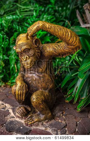 Golden Chimpanzee Statue