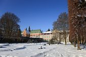 foto of winter palace  - Abbots Palace and the Cathedral in Oliwa winter Poland - JPG