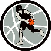Basketball Player Dribbling Ball Circle Retro