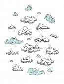 Set of vector engraving clouds eps 8