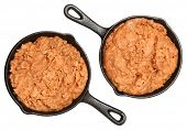 Refried Beans in Skillets Over White in Single Serve Skillets