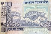 picture of indian currency  - himalayan mountains depicted on a indian currency note - JPG