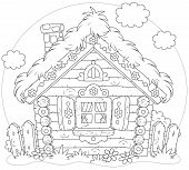 stock photo of hamlet  - Rustic log house in a folk traditional style - JPG
