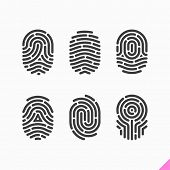stock photo of personal safety  - Fingerprint icons set - JPG