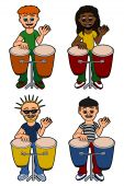 stock photo of congas  - Men percussionists playing congas collection isolated on a white background - JPG