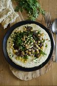 foto of pine nut  - Hummus with lamb meat chickpeas and toasted pine nuts - JPG
