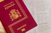 stock photo of passport cover  - Detail of an spanish passport - JPG