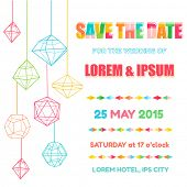 Save the Date  - Wedding Invitation Card with Colorful Geometric Design - in vector