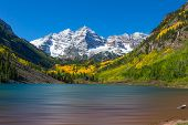 stock photo of wilder  - the scenic landscape of maroon bells and maroon lake aspen colorado in fall - JPG