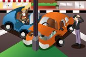 pic of bender  - A vector illustration of car accident in the city - JPG