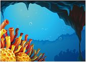 stock photo of underworld  - Illustration of a beautiful view of the coral reefs under the sea on a white background - JPG