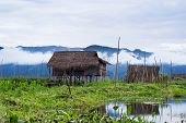 Floating Houses On Inle Lake