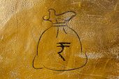 stock photo of indian money  - money bag with currency symbol - JPG
