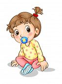 foto of pacifier  - Illustration of a toddler with a pacifier on a white background - JPG