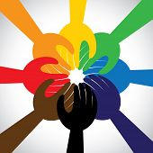 foto of friendship  - group of hands taking pledge promise or vow  - JPG