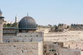 stock photo of mosk  - View on Mosk and Western Wall  in jerusalem Israel - JPG