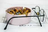 picture of opiate  - Ashtray and glasses on white blueprint background representing stress in work concept - JPG