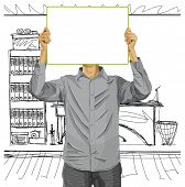 Idea concept. Man with write board in his hands against his head