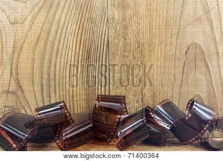 mm negative films wooden backgrou
