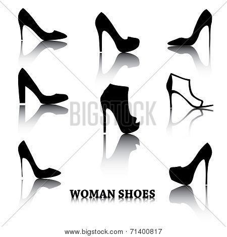 Black female fashion shoes isolated on white