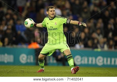 BARCELONA - JAN, 21: Iker Casillas of Real Madrid during the Spanish Kings Cup match between Espanyol and Real Madrid at the Estadi Cornella on January 21, 2014 in Barcelona, Spain