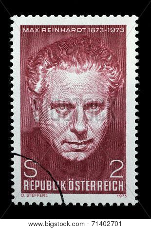 AUSTRIA - CIRCA 1973: A stamp printed in Austria, is dedicated to the 100th anniversary of Max Reinhardt, Theatrical Director, circa 1973