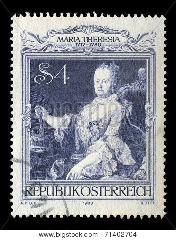 AUSTRIA - CIRCA 1980: stamp printed by Austria, shows Empress Maria Theresia portrait by Martin van Meytens, circa 1980