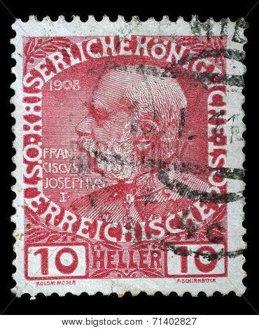 AUSTRIA - CIRCA 1908: stamp printed by Austria, shows Franz Josef, circa 1908