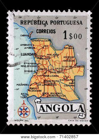 ANGOLA - CIRCA 1955: A stamp printed in Angola shows a map of Angola, circa 1955