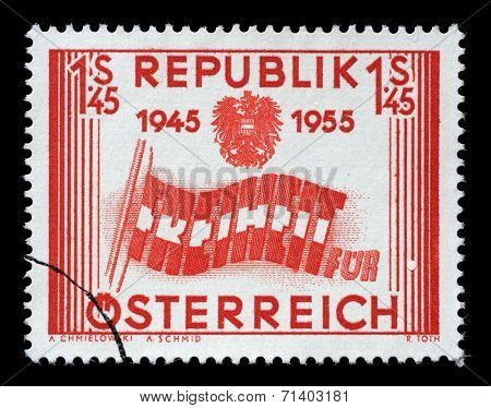 AUSTRIA - CIRCA 1955: a stamp printed in the Austria shows Letters forming Flag, 10th Anniversary of Austria's Liberation, circa 1955