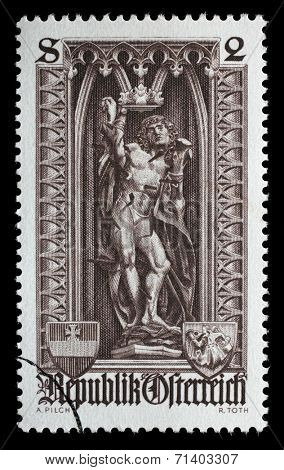 AUSTRIA - CIRCA 1969: A stamp printed in the Austrian, is dedicated to 500th anniversary of Diocese of Vienna, depicts the statue of St. Sebastian in St. Stephen's Cathedral, Vienna, circa 1969