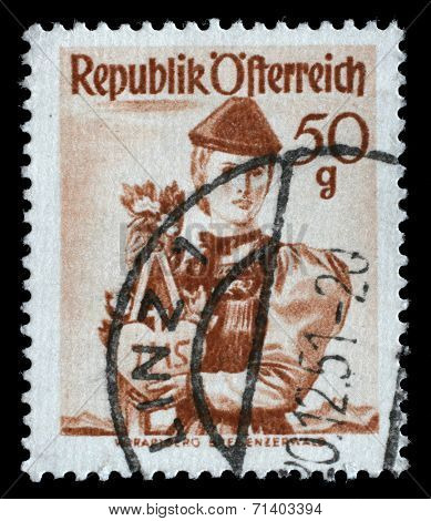 AUSTRIA - CIRCA 1949: A stamp printed in Austria shows woman in national dress, Vorarlberg, Bregenzer Forest, circa 1949